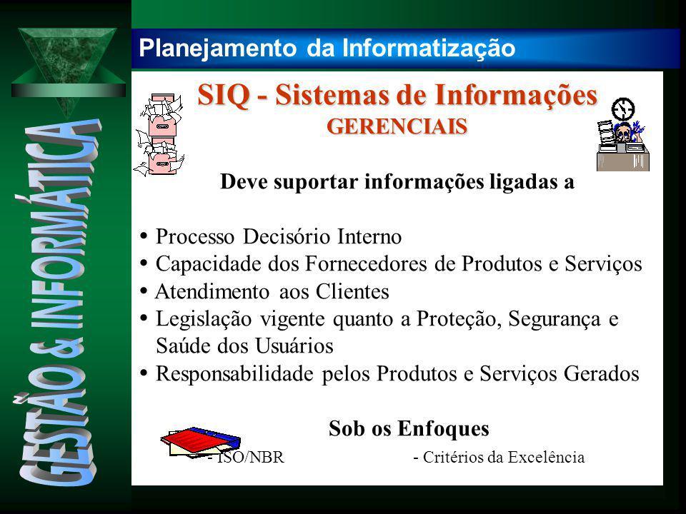 SIQ - Sistemas de Informações GERENCIAIS Deve suportar informações ligadas a  Processo Decisório Interno  Capacidade dos Fornecedores de Produtos e