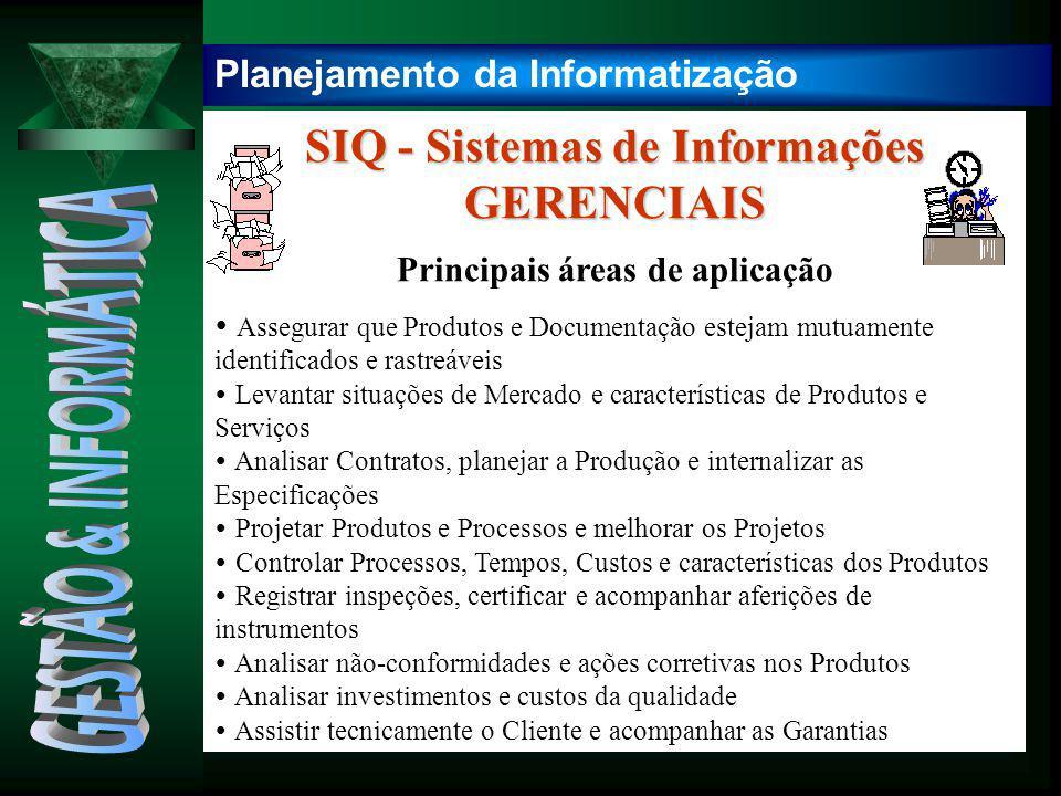 SIQ - Sistemas de Informações GERENCIAIS Principais áreas de aplicação  Assegurar que Produtos e Documentação estejam mutuamente identificados e rast