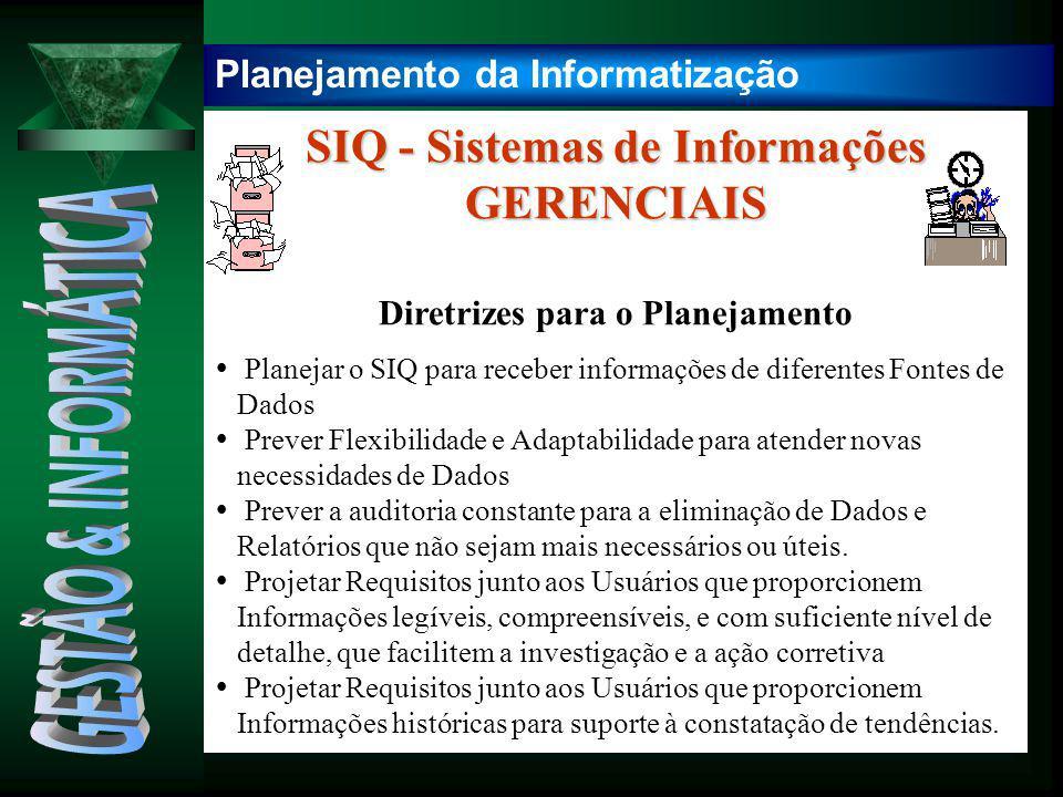 SIQ - Sistemas de Informações GERENCIAIS Diretrizes para o Planejamento  Planejar o SIQ para receber informações de diferentes Fontes de Dados  Prev