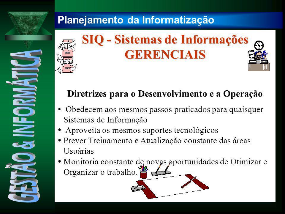 SIQ - Sistemas de Informações GERENCIAIS Diretrizes para o Desenvolvimento e a Operação  Obedecem aos mesmos passos praticados para quaisquer Sistema