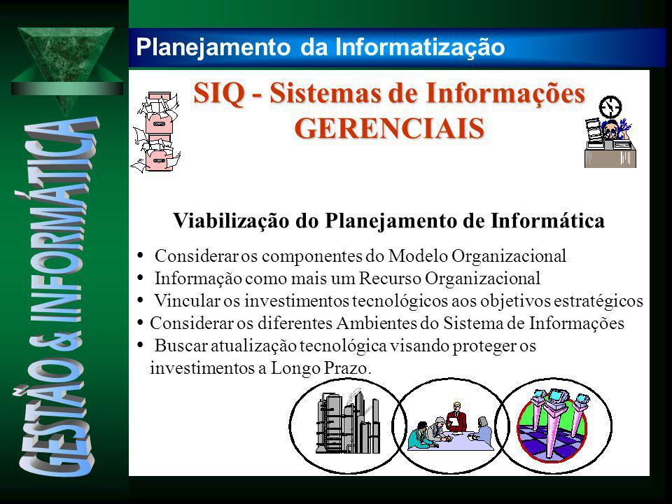 SIQ - Sistemas de Informações GERENCIAIS Viabilização do Planejamento de Informática  Considerar os componentes do Modelo Organizacional  Informação