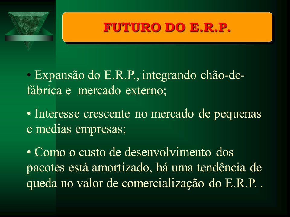 FUTURO DO E.R.P. Expansão do E.R.P., integrando chão-de- fábrica e mercado externo; Interesse crescente no mercado de pequenas e medias empresas; Como