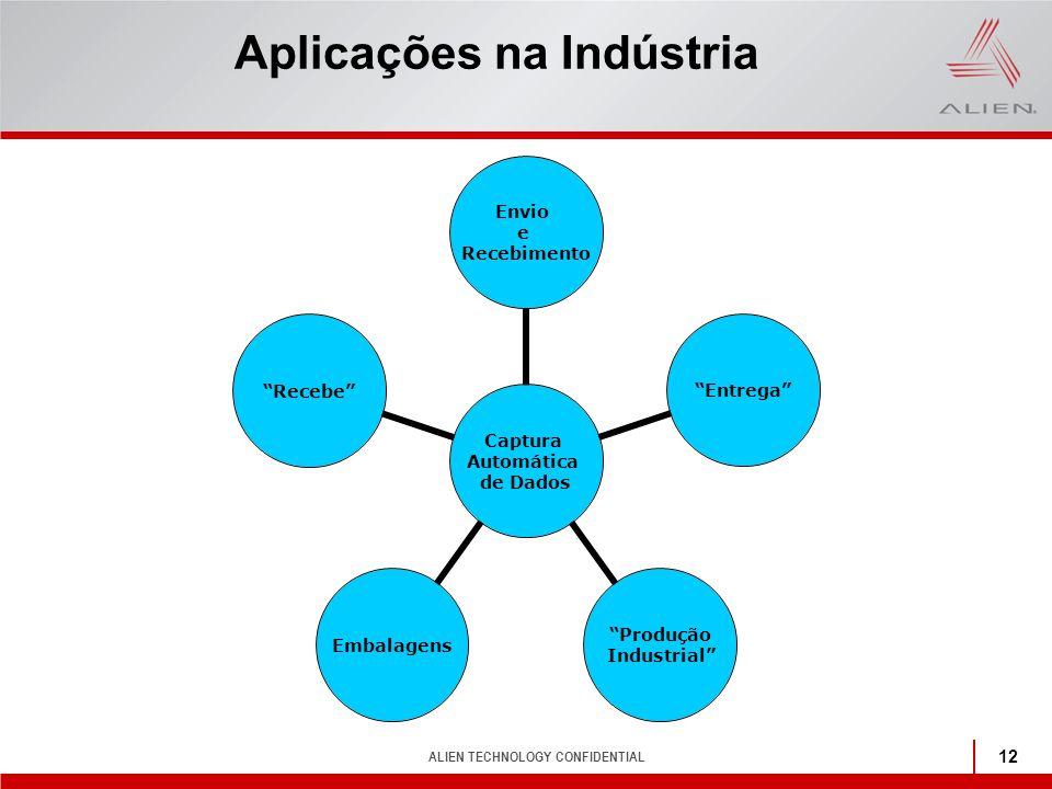 """ALIEN TECHNOLOGY CONFIDENTIAL 12 Aplicações na Indústria Captura Automática de Dados Envio e Recebimento """"Entrega"""" """"Produção Industrial"""" Embalagens""""Re"""