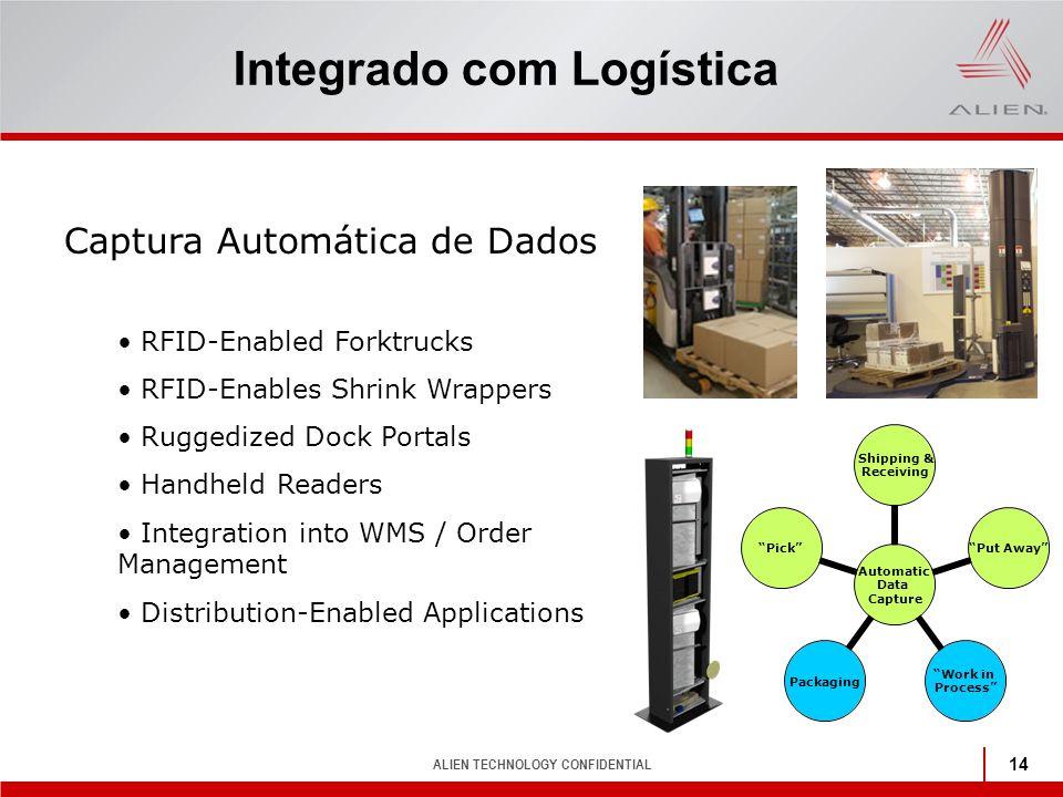 ALIEN TECHNOLOGY CONFIDENTIAL 14 Integrado com Logística Captura Automática de Dados RFID-Enabled Forktrucks RFID-Enables Shrink Wrappers Ruggedized D