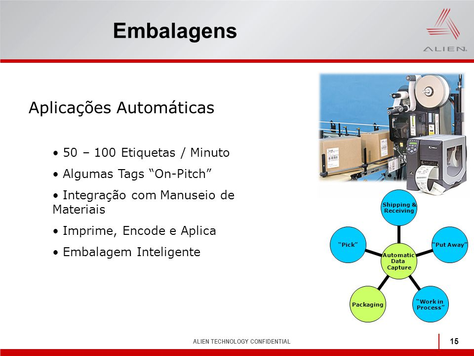 "ALIEN TECHNOLOGY CONFIDENTIAL 15 Embalagens Automatic Data Capture Shipping & Receiving ""Put Away"" ""Work in Process"" Packaging""Pick"" Aplicações Automá"