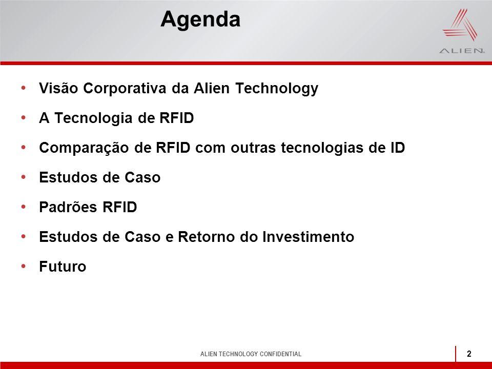 ALIEN TECHNOLOGY CONFIDENTIAL 2 Agenda Visão Corporativa da Alien Technology A Tecnologia de RFID Comparação de RFID com outras tecnologias de ID Estu