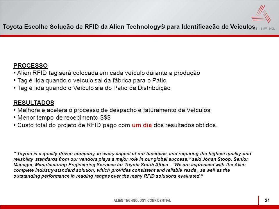 ALIEN TECHNOLOGY CONFIDENTIAL 21 PROCESSO Alien RFID tag será colocada em cada veículo durante a produção Tag é lida quando o veículo sai da fábrica p