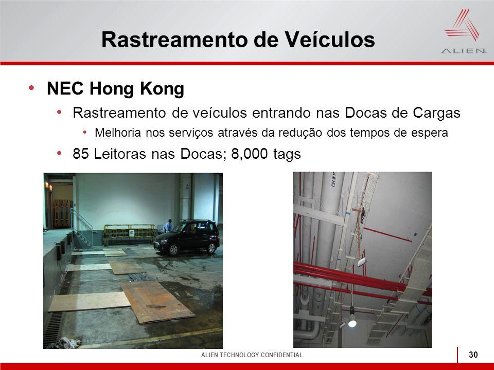 ALIEN TECHNOLOGY CONFIDENTIAL 30 Rastreamento de Veículos NEC Hong Kong Rastreamento de veículos entrando nas Docas de Cargas Melhoria nos serviços at