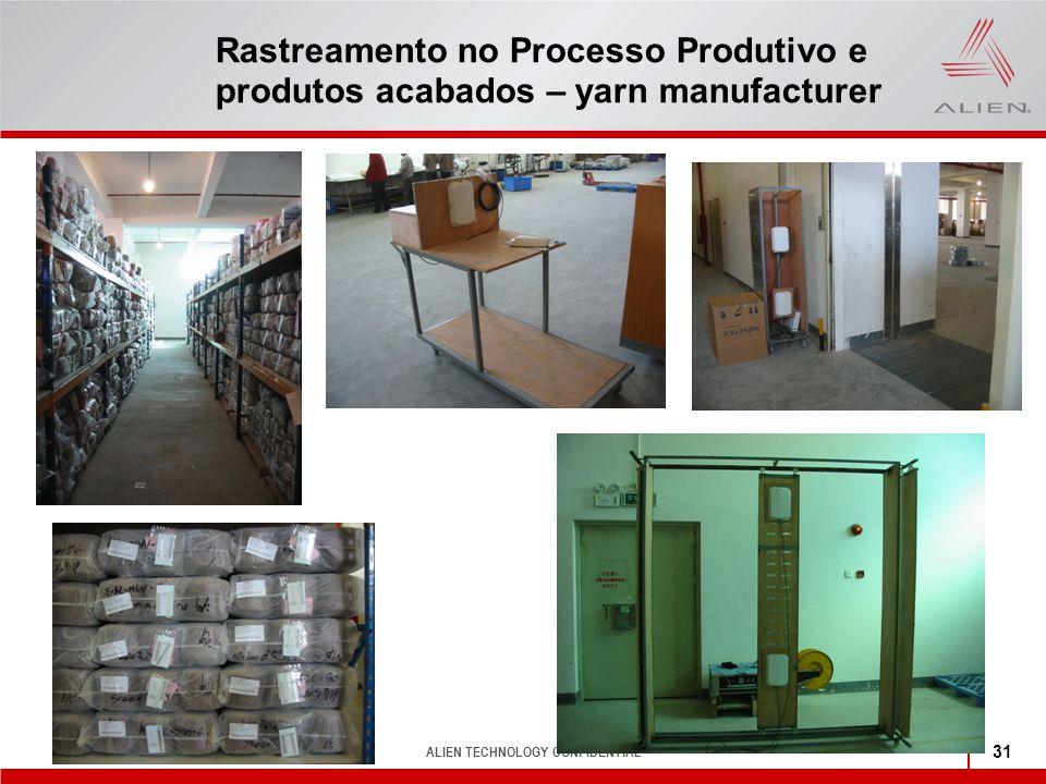 ALIEN TECHNOLOGY CONFIDENTIAL 31 Rastreamento no Processo Produtivo e produtos acabados – yarn manufacturer