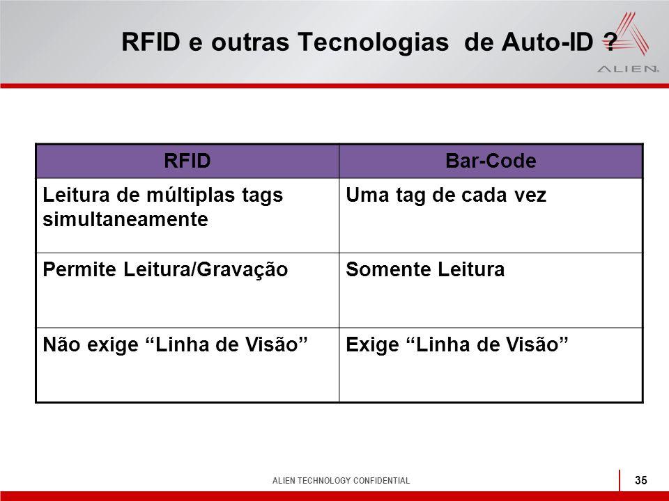 ALIEN TECHNOLOGY CONFIDENTIAL 35 RFID e outras Tecnologias de Auto-ID ? RFIDBar-Code Leitura de múltiplas tags simultaneamente Uma tag de cada vez Per