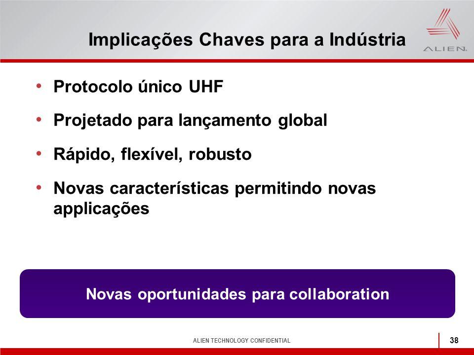 ALIEN TECHNOLOGY CONFIDENTIAL 38 Implicações Chaves para a Indústria Protocolo único UHF Projetado para lançamento global Rápido, flexível, robusto No