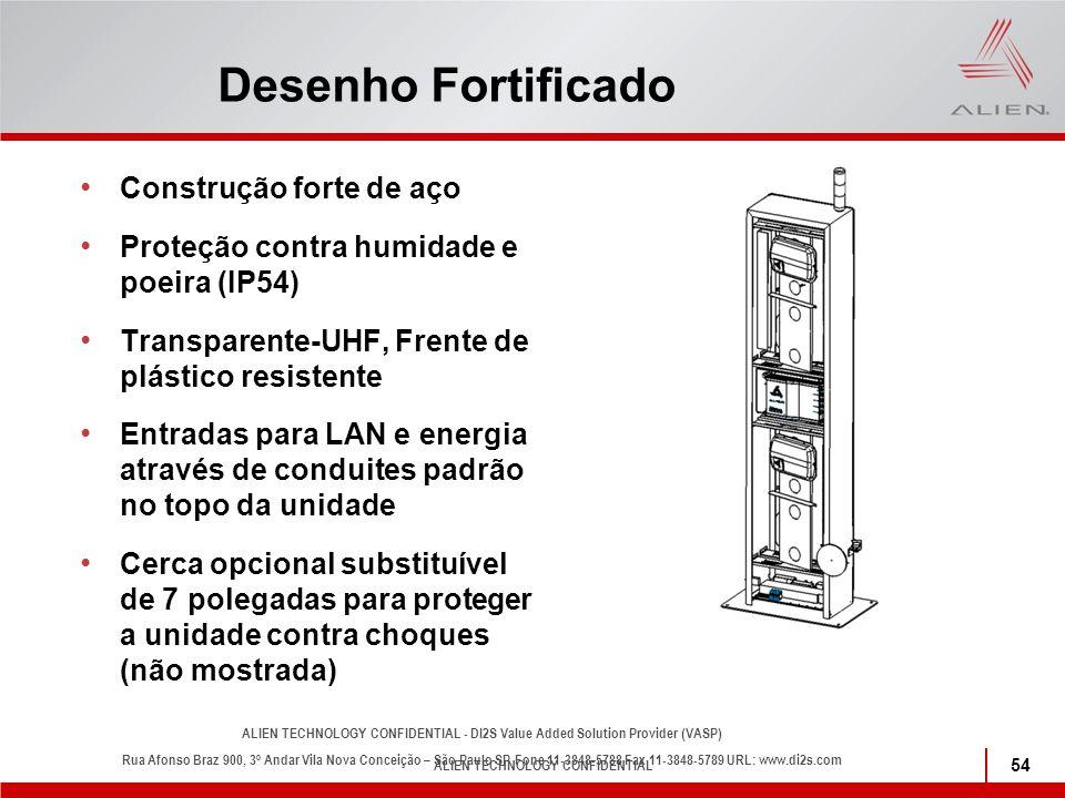 ALIEN TECHNOLOGY CONFIDENTIAL 54 Desenho Fortificado Construção forte de aço Proteção contra humidade e poeira (IP54) Transparente-UHF, Frente de plás