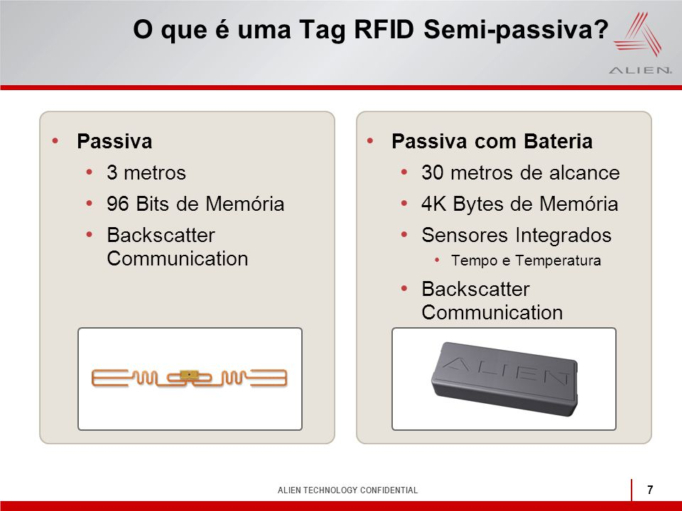 ALIEN TECHNOLOGY CONFIDENTIAL 7 O que é uma Tag RFID Semi-passiva? Passiva 3 metros 96 Bits de Memória Backscatter Communication Passiva com Bateria 3