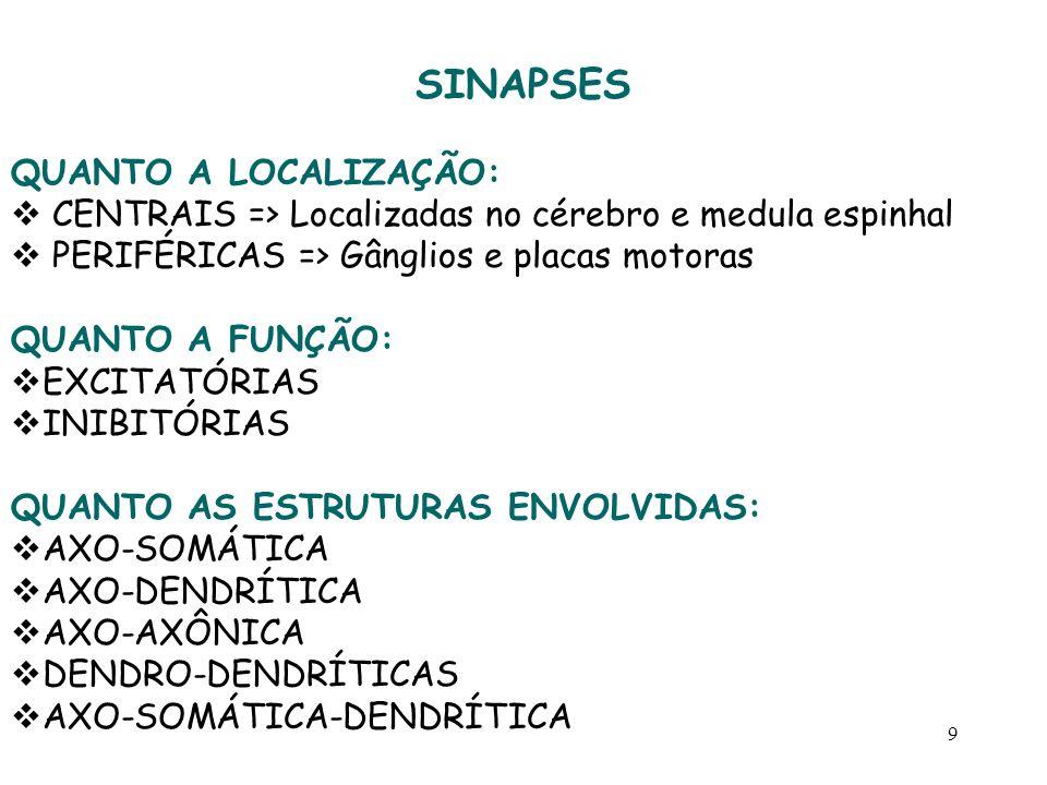 9 SINAPSES QUANTO A LOCALIZAÇÃO:  CENTRAIS => Localizadas no cérebro e medula espinhal  PERIFÉRICAS => Gânglios e placas motoras QUANTO A FUNÇÃO: 