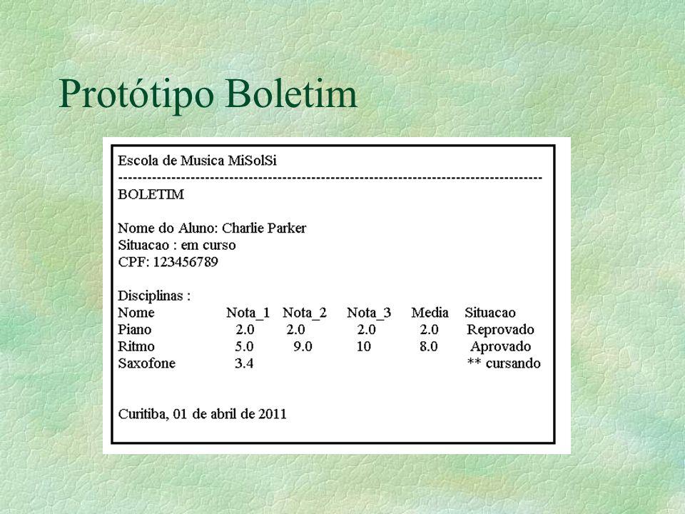 Protótipo Boletim