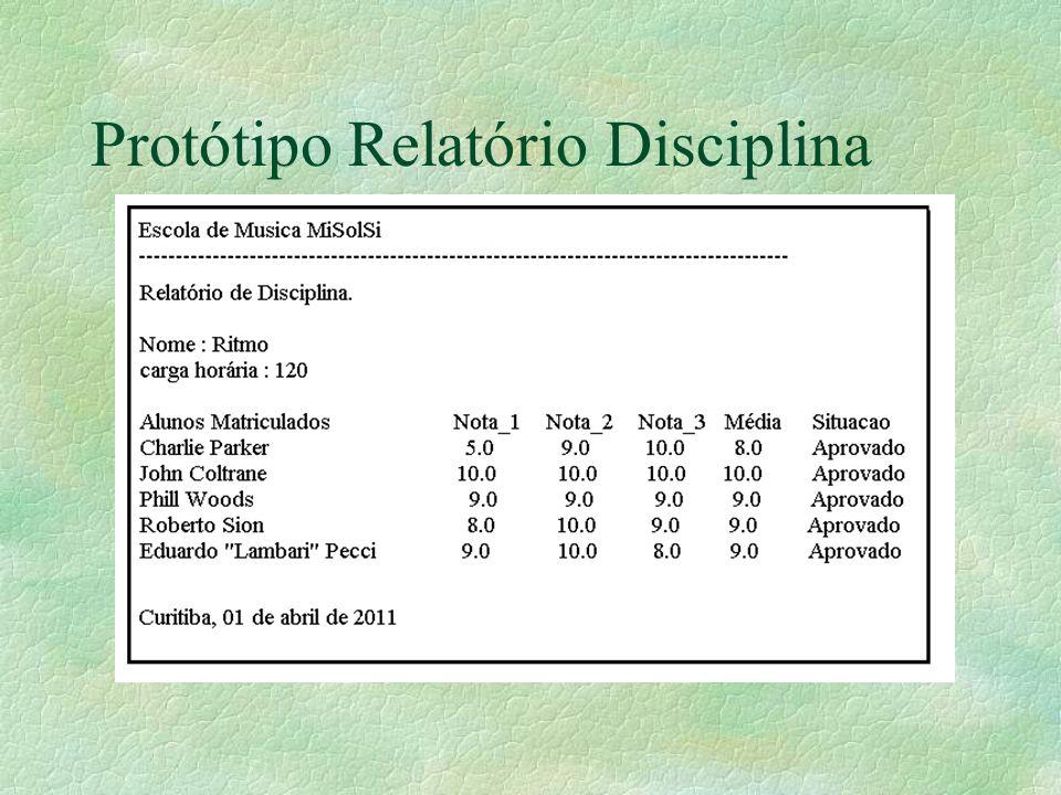 Protótipo Relatório Disciplina