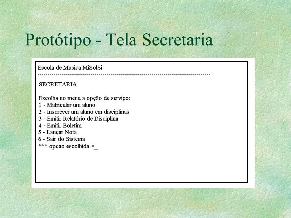 Protótipo - Tela Secretaria