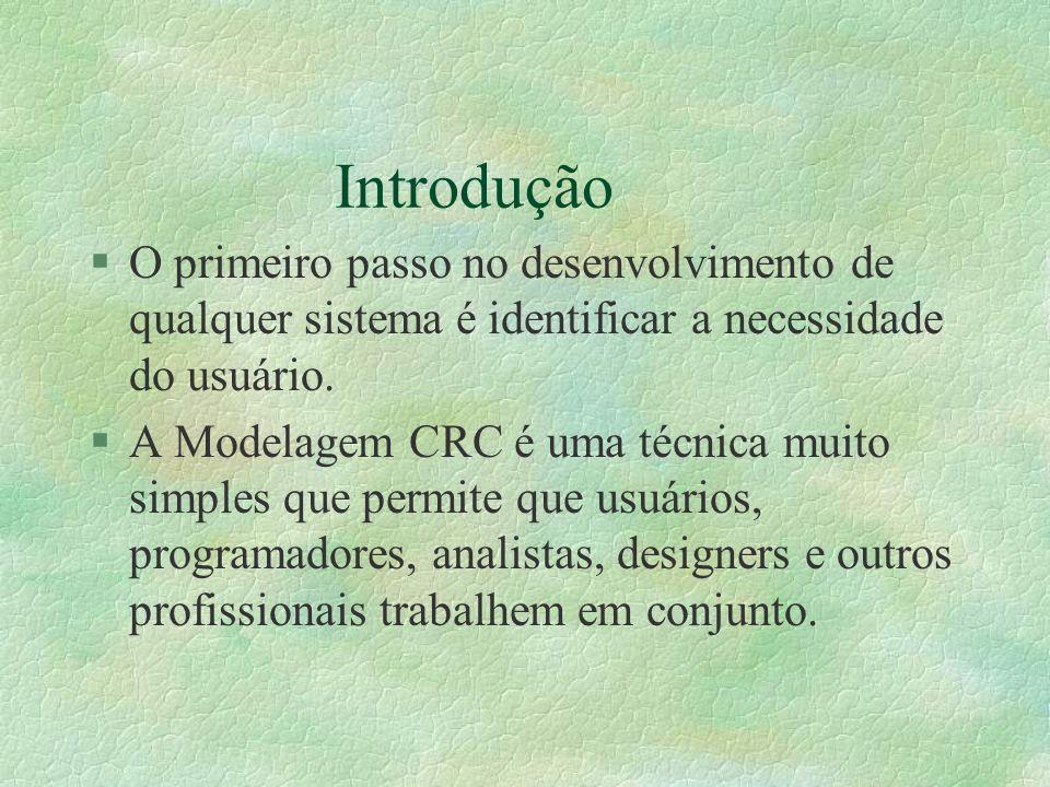 Introdução §O primeiro passo no desenvolvimento de qualquer sistema é identificar a necessidade do usuário. §A Modelagem CRC é uma técnica muito simpl