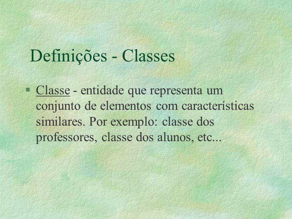 Definições - Classes §Classe - entidade que representa um conjunto de elementos com características similares. Por exemplo: classe dos professores, cl