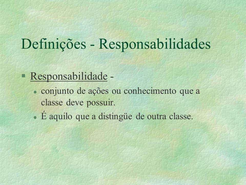 Definições - Responsabilidades §Responsabilidade - l conjunto de ações ou conhecimento que a classe deve possuir. l É aquilo que a distingüe de outra