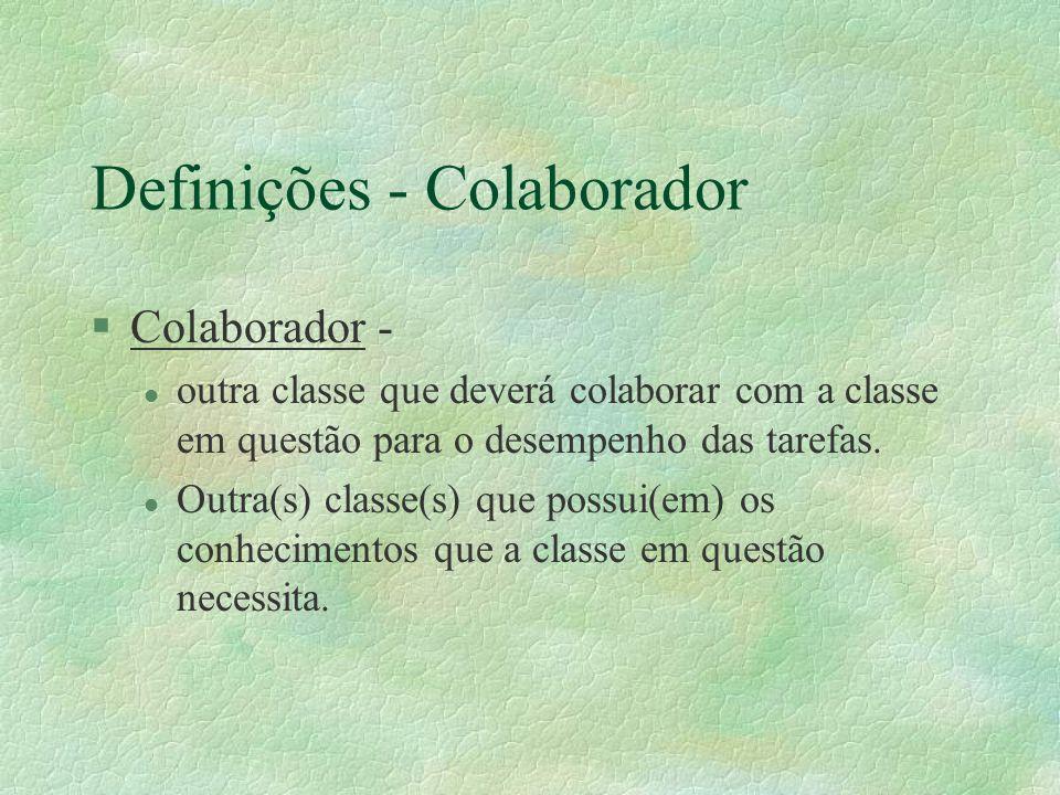 Definições - Colaborador §Colaborador - l outra classe que deverá colaborar com a classe em questão para o desempenho das tarefas. l Outra(s) classe(s