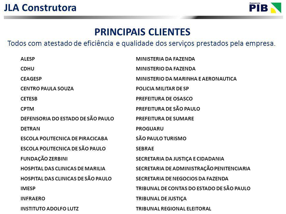 JLA Construtora PRINCIPAIS CLIENTES Todos com atestado de eficiência e qualidade dos serviços prestados pela empresa. ALESPMINISTERIA DA FAZENDA CDHUM