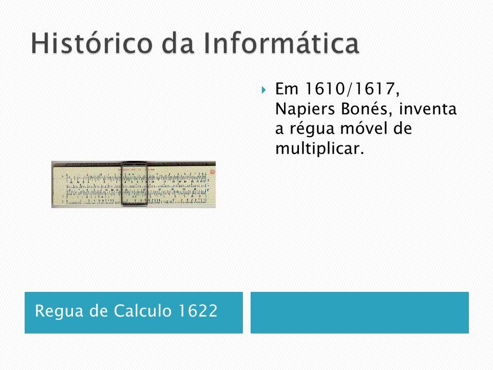 Regua de Calculo 1622  Em 1610/1617, Napiers Bonés, inventa a régua móvel de multiplicar.