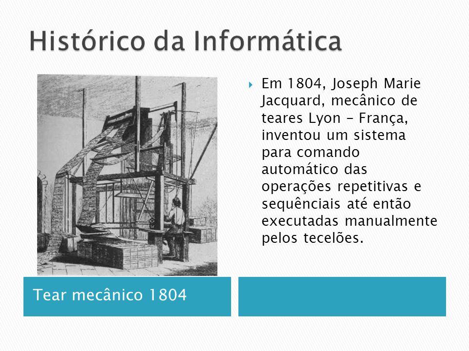 Tear mecânico 1804  Em 1804, Joseph Marie Jacquard, mecânico de teares Lyon - França, inventou um sistema para comando automático das operações repetitivas e sequênciais até então executadas manualmente pelos tecelões.