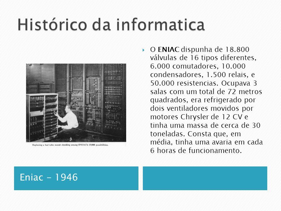 Eniac - 1946  O ENIAC dispunha de 18.800 válvulas de 16 tipos diferentes, 6.000 comutadores, 10.000 condensadores, 1.500 relais, e 50.000 resistencias.