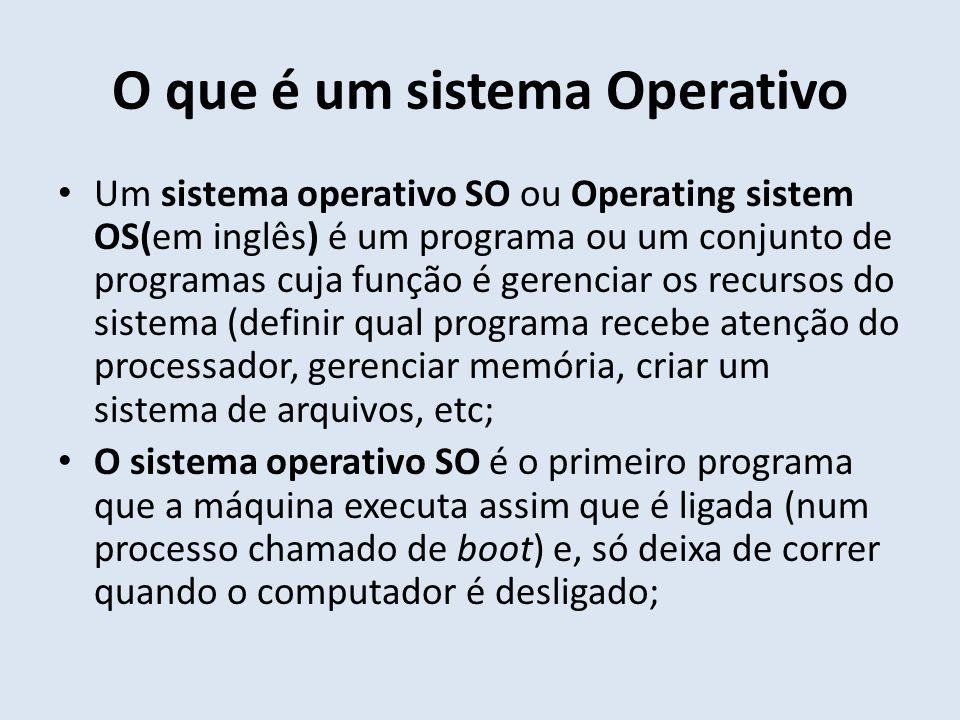 O que é um sistema Operativo Um sistema operativo SO ou Operating sistem OS(em inglês) é um programa ou um conjunto de programas cuja função é gerenci