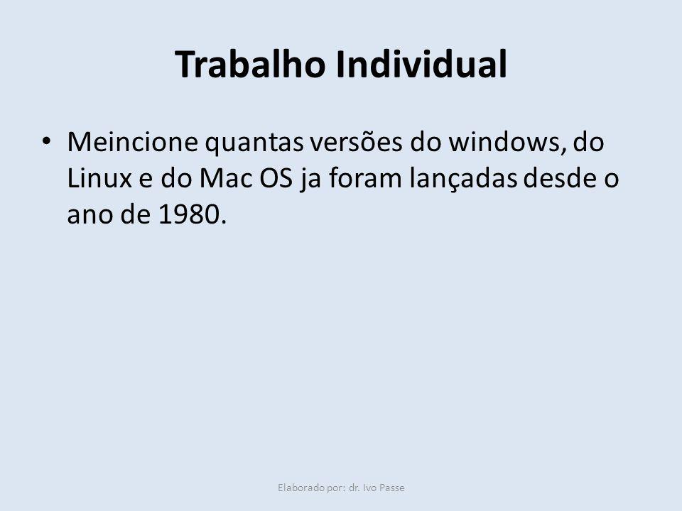 Trabalho Individual Meincione quantas versões do windows, do Linux e do Mac OS ja foram lançadas desde o ano de 1980. Elaborado por: dr. Ivo Passe