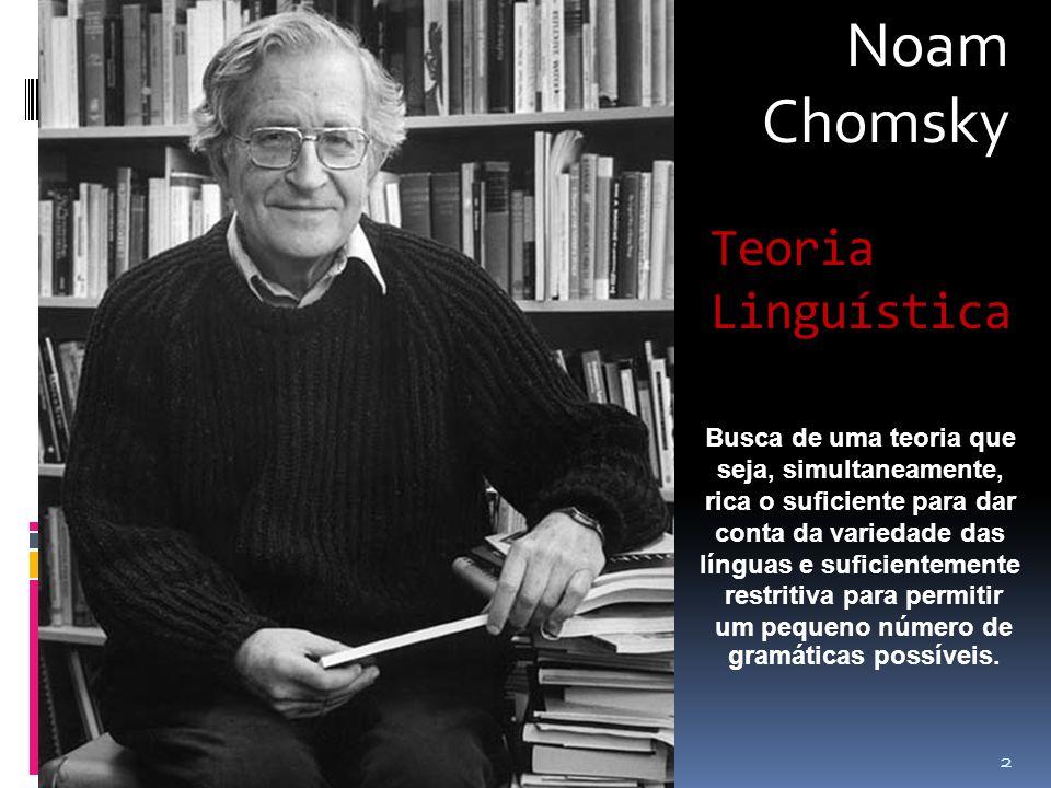 Noam Chomsky 2 Teoria Linguística Busca de uma teoria que seja, simultaneamente, rica o suficiente para dar conta da variedade das línguas e suficientemente restritiva para permitir um pequeno número de gramáticas possíveis.