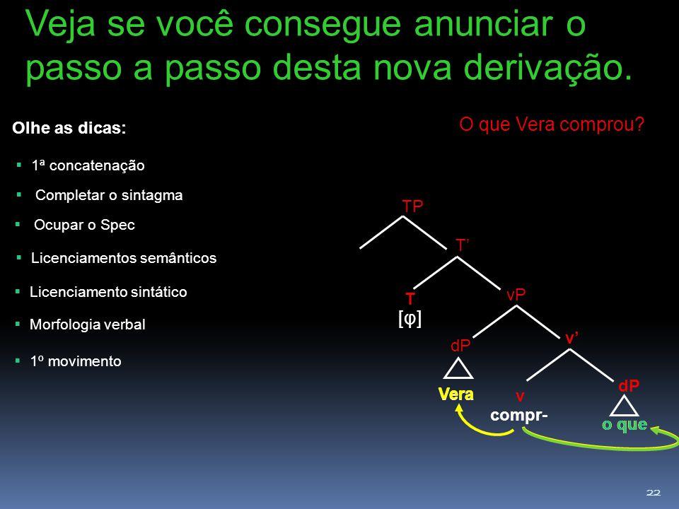 22 dP v v' dP vP Vera compr- o que Vera o que T T' [φ][φ] TP Veja se você consegue anunciar o passo a passo desta nova derivação.