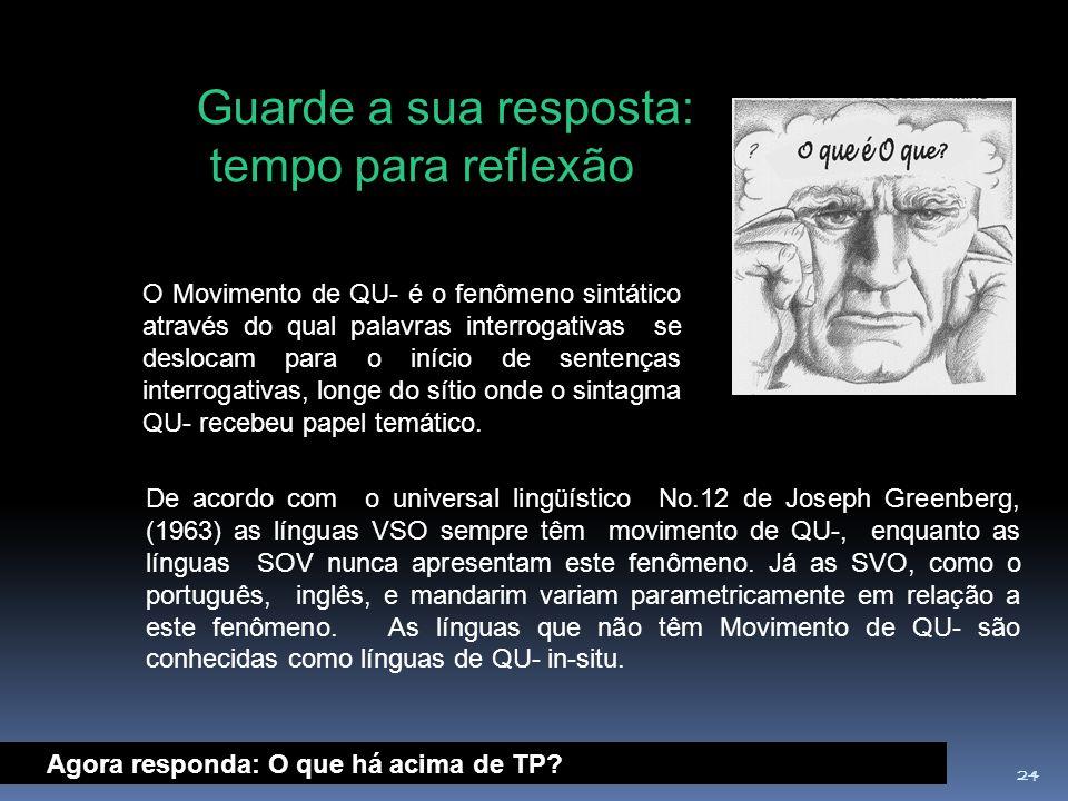 24 De acordo com o universal lingüístico No.12 de Joseph Greenberg, (1963) as línguas VSO sempre têm movimento de QU-, enquanto as línguas SOV nunca a