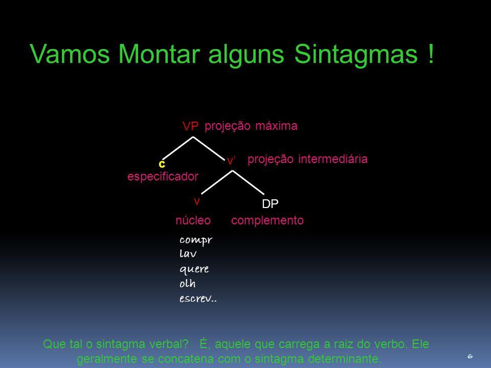 6 Vamos Montar alguns Sintagmas ! Que tal o sintagma verbal? É, aquele que carrega a raiz do verbo. Ele geralmente se concatena com o sintagma determi