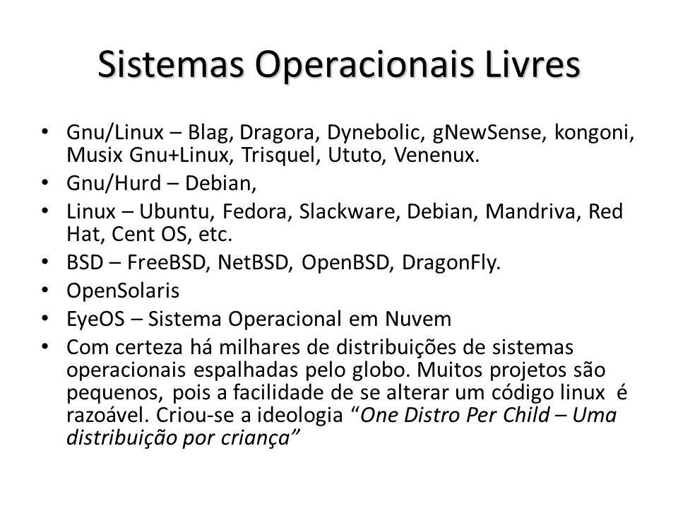 Sistemas Operacionais Livres Gnu/Linux – Blag, Dragora, Dynebolic, gNewSense, kongoni, Musix Gnu+Linux, Trisquel, Ututo, Venenux. Gnu/Hurd – Debian, L