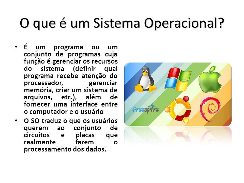 O que é um Sistema Operacional? É um programa ou um conjunto de programas cuja função é gerenciar os recursos do sistema (definir qual programa recebe