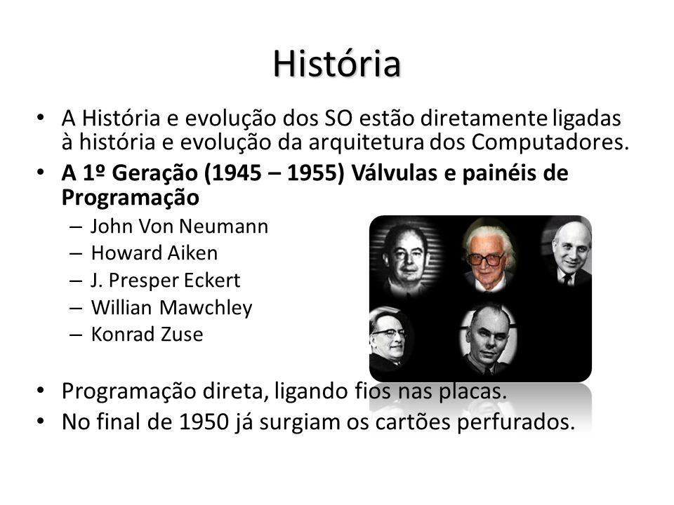 História A História e evolução dos SO estão diretamente ligadas à história e evolução da arquitetura dos Computadores. A 1º Geração (1945 – 1955) Válv