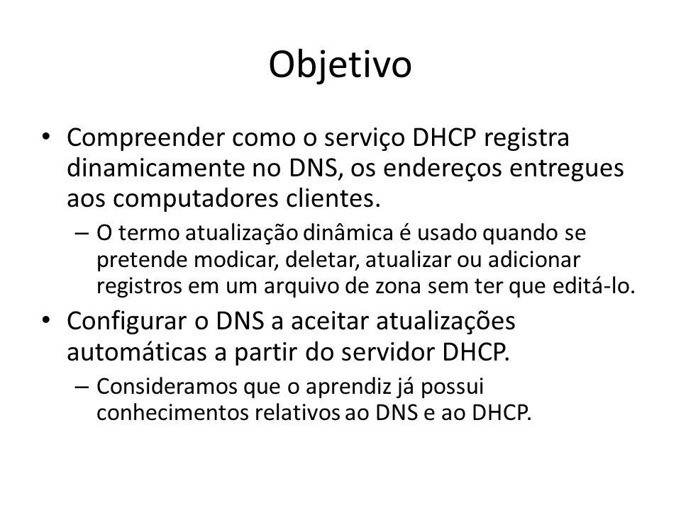 Objetivo Compreender como o serviço DHCP registra dinamicamente no DNS, os endereços entregues aos computadores clientes.