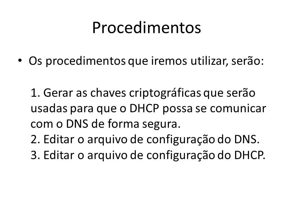 Procedimentos Os procedimentos que iremos utilizar, serão: 1.