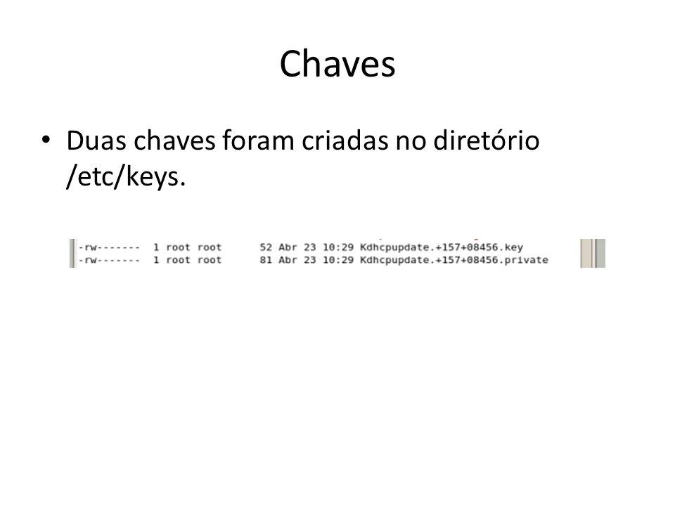 Chaves Duas chaves foram criadas no diretório /etc/keys.