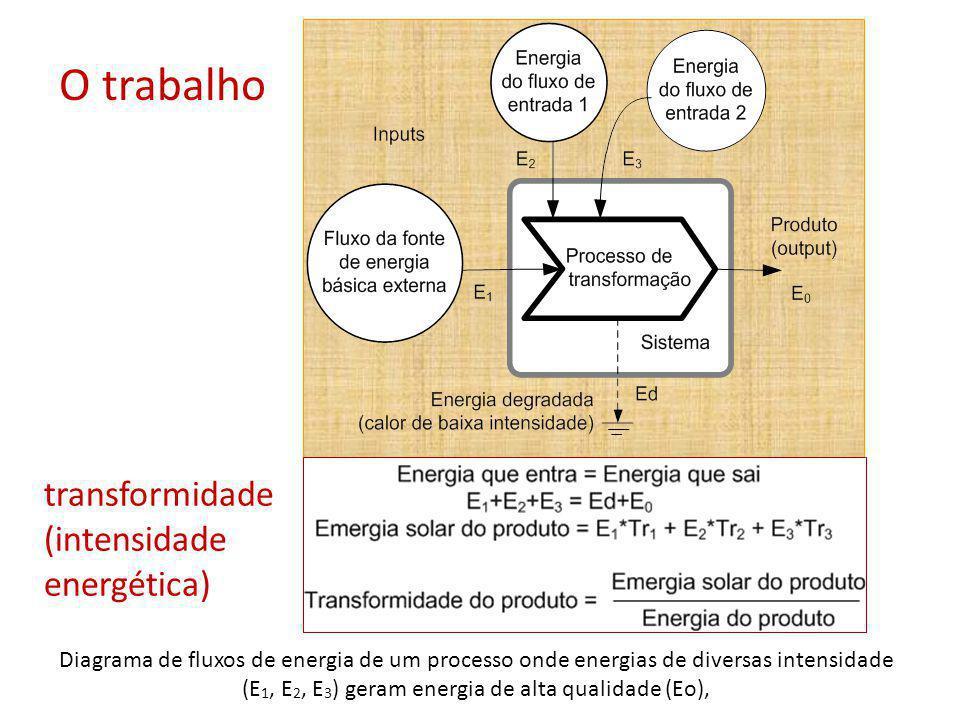 Diagrama de fluxos de energia de um processo onde energias de diversas intensidade (E 1, E 2, E 3 ) geram energia de alta qualidade (Eo), O trabalho t