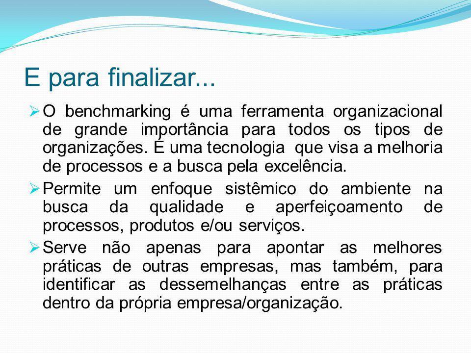 E para finalizar...  O benchmarking é uma ferramenta organizacional de grande importância para todos os tipos de organizações. É uma tecnologia que v