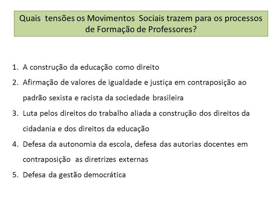 Quais tensões os Movimentos Sociais trazem para os processos de Formação de Professores.