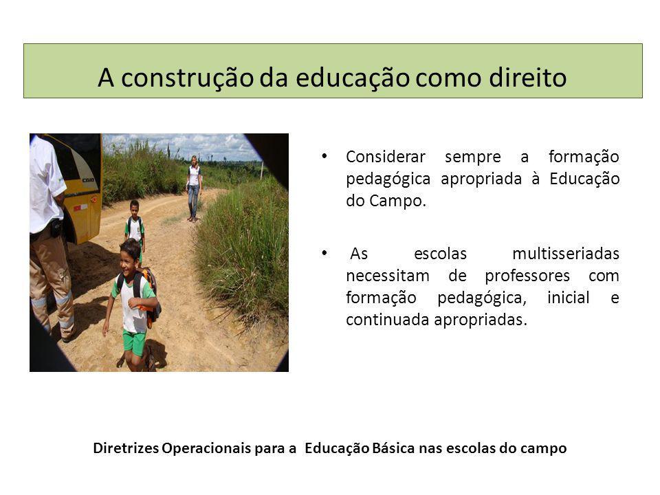 Diretrizes Operacionais para a Educação Básica nas escolas do campo Considerar sempre a formação pedagógica apropriada à Educação do Campo.