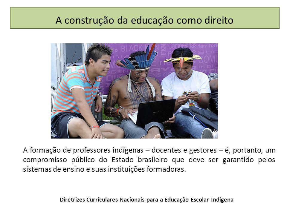Diretrizes Curriculares Nacionais para a Educação Escolar Indígena A formação de professores indígenas – docentes e gestores – é, portanto, um compromisso público do Estado brasileiro que deve ser garantido pelos sistemas de ensino e suas instituições formadoras.