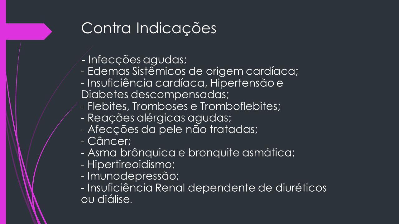 Contra Indicações - Infecções agudas; - Edemas Sistêmicos de origem cardíaca; - Insuficiência cardíaca, Hipertensão e Diabetes descompensadas; - Flebi