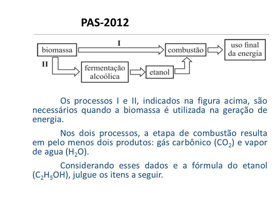 PAS-2012 Os processos I e II, indicados na figura acima, são necessários quando a biomassa é utilizada na geração de energia. Nos dois processos, a et