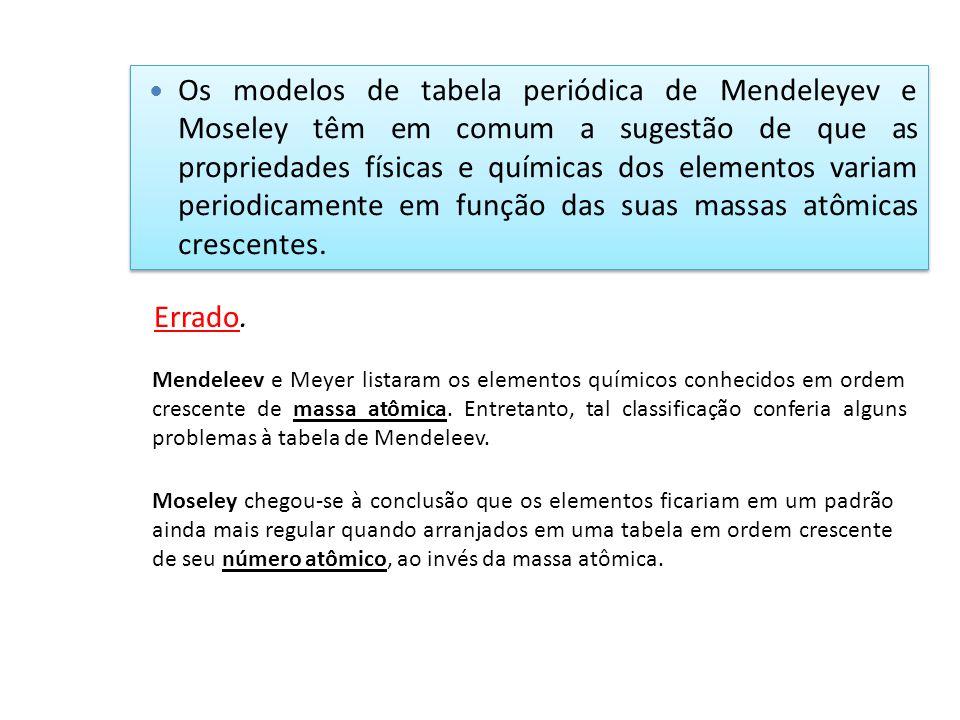 Os modelos de tabela periódica de Mendeleyev e Moseley têm em comum a sugestão de que as propriedades físicas e químicas dos elementos variam periodic