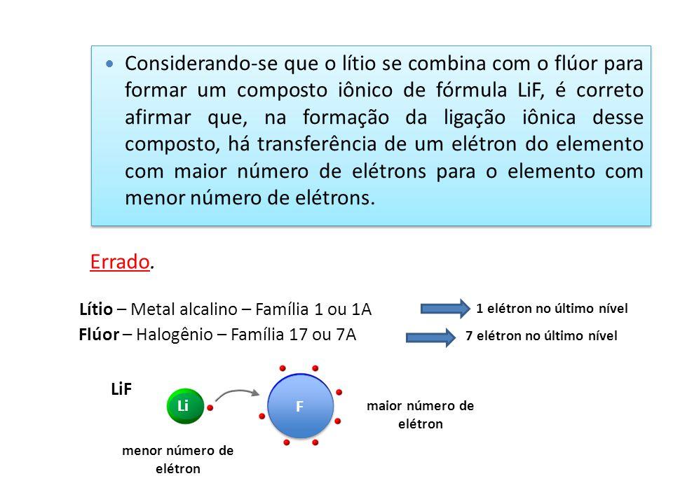 Considerando-se que o lítio se combina com o flúor para formar um composto iônico de fórmula LiF, é correto afirmar que, na formação da ligação iônica